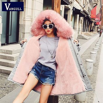 Women Coat 2016 Fashion Warm Thick Winter Pink Fur Collar Down Trench Coat Mid-Long Solid Jacket Down Cotton Plus Size Female