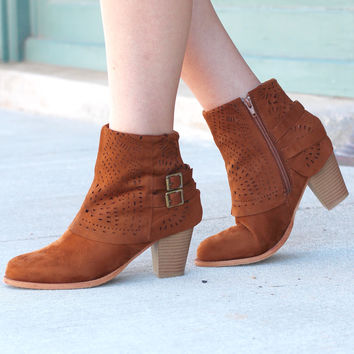 Denny Perforated Suede Bootie {Tan}