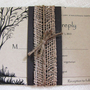 Rustic Tree Woodland Burlap and Wood Wedding Invitation