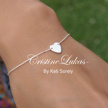10K or 14K White Gold  or Sterling Silver -Small Dainty Heart  Bracelet - Love Symbols -Fine Jewelry