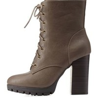 Stone Lug Sole Combat Booties by Charlotte Russe