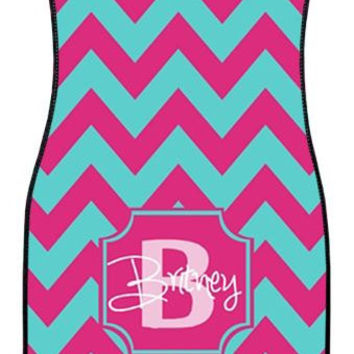 Turquoise and Pink Wide Chevron Personalized Car Mats, Monogrammed Car Mats, Custom Car Mats, Monogrammed Car Accessory, Front Car Mats