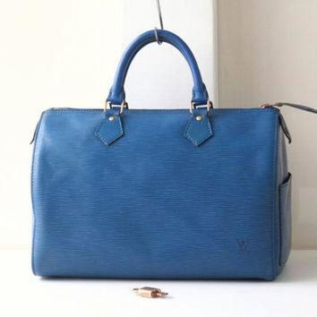 ICIKHI2 Louis Vuitton Epi Speedy 30 Blue Tote Boston Handbag Authentic Vintage purse