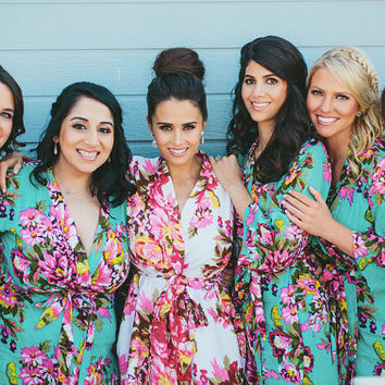 319, Floral robe, custom, Bridesmaids, maid of honor, spa robe, beach cover up, dressing up robe, maternity