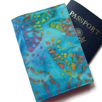 Travel Document Wallet Passport Cover Blue by TwoBeesCreations
