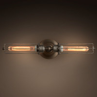 Edison Caged Inline Double Sconce - Gunmetal