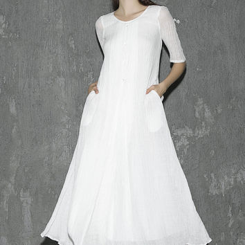 White linen dress maxi dress women dress long prom dress(1305)