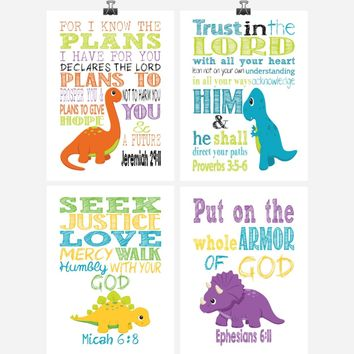 Christian Dinosaur Nursery Decor Set of 4 - Tyrannosaurus Rex, Brontosaurus, Stegosaurus, Triceratops - Playroom, Kids Room - Multiple Sizes
