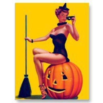 Retro Vintage Kitsch Halloween Bewitched Pin Up Post Cards