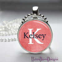 PERSONALIZED Name and Initial Glass Dome Pendant Necklace-your choice of name and letter