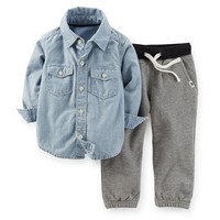 2-Piece Chambray Top & French Terry Pant Set