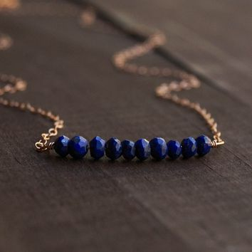 Lapis Lazuli Beaded Bar Necklace