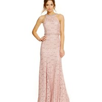 Sequin Hearts Jeweled Neckline Sequin Lace Long Open Back Dress | Dillards