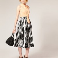 ASOS | ASOS Irregular Stripe Midi Skirt at ASOS