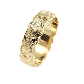 14K YELLOW GOLD HAND ENGRAVED HAWAIIAN PLUMERIA SCROLL BAND RING CUT OUT 6MM