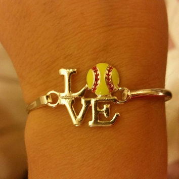 Yellow love softball bracelet, game, player, fan, sport