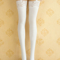 ROMWE | Pure White Suspender Tights, The Latest Street Fashion
