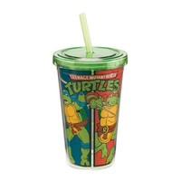 Vandor 38014 Teenage Mutant Ninja Turtles 12 oz Acrylic Travel Cup with Lid and Straw, Multicolor