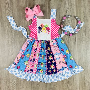 RTS Baby Shark Family Panel Dress D42