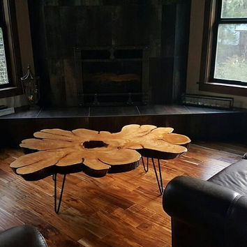 CEDAR BLOSSOM CUSTOM Coffee Tables | Live Edge | Rustic | Slab Wood |  Price varies with size