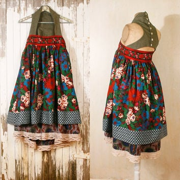 Russian dress Babydoll dress Bohemian gypsy dress Pixie dress Mini dress Festival dress Red dress Woman Fairy dress Patchwork dress RESERVED