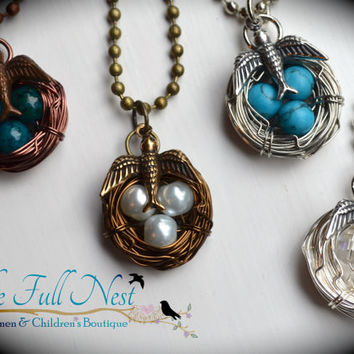 Handmade birthstone necklace birds nest necklace mother gift jewelry wire wrapped silver brass bronze 1-4 eggs