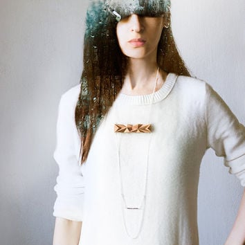 Geometric Wooden chain necklace, nude beige faceted minimalist necklace, wood and chains jewelry, urban style casual jewelry