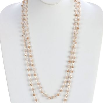 Beige Iridescent Glass Bead Extra Long Wraparound Necklace