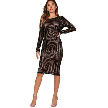 Sexy slim sequined long sleeve  colors backless woman's Casual sheath dress