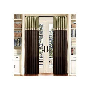 "Lush Decor Terra Green/Chocolate Window Curtains, Pair, 54"" X 84"""