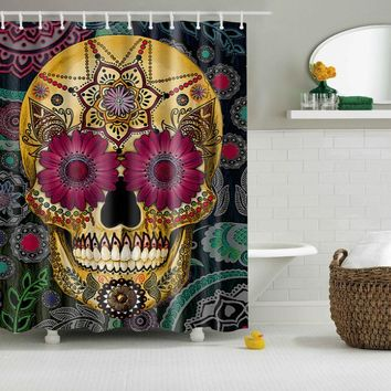 Floral Gothic Skull Print Curtains Waterproof Bathroom Curtains Polyester 180x180cm Decoration With Hooks
