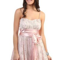glitter peasant style pink party dress with soft satin skirt - debshops.com