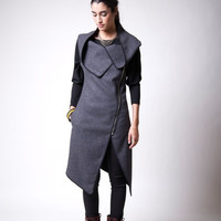 20% SALE Spring Asymmetrical Vest with Zipper / Wool Sleeveless Vest /  Designer Coat / marcellamoda - MC016