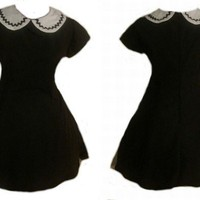 Gothic Lolita A line Black Dress with Cap Sleeves by MGDclothing
