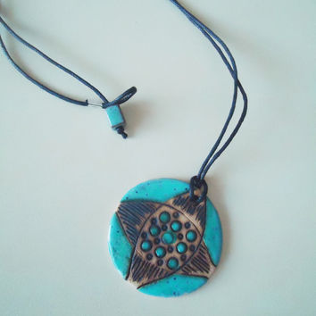 Handmade ceramic pendant. Clay medallion. Turquoise  and black. FREE SHIPPING!