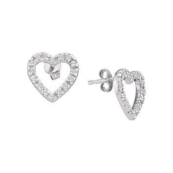 10kt White Gold Womens Round Diamond Simple Heart Screwback Earrings 1/5 Cttw