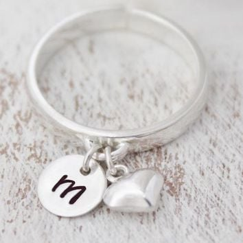 Sterling Silver Initial Ring, Dangling Charm Ring, Personalized Initial Rings, Stacking Rings, Minimalist Rings, Simple Adjustable Rings