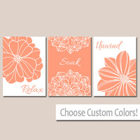 BATHROOM DECOR Wall Art Canvas or Print Flower Home Bathroom Pictures Peach Gray Relax Soak Unwind Quote Words Flower Artwork Set of 3