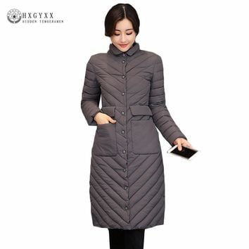 Winter Long Puffer Jacket Women Winter Quilted Coat 2017 New Slim Plus Size Warm Military Parka Female Down Cotton Outerwear O4