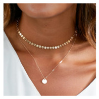 Gold Coin Layered Choker Necklace Set For Women