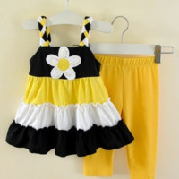 Sunflower Dress and Pants  Set