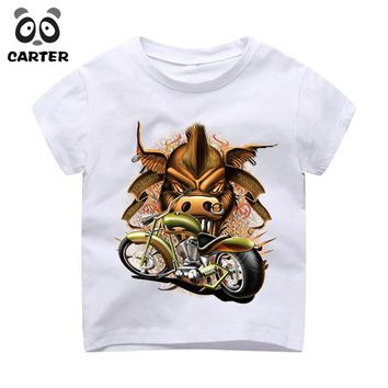 Boys and Girls Hipster Punk Motorcycle Printed T-shirt Children Casual Cartoon T Shirt Funny Tops Kids Baby Clothes