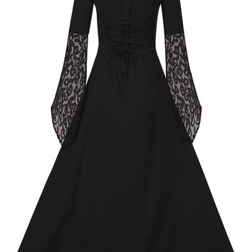 EastLife Womens Renaissance Medieval Dress Lace Up Vintage Floor Length Long Dress