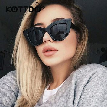 Sunglasses Rose Gold Cat Eye Pink Mirror Shades Female Black White Coating Catey