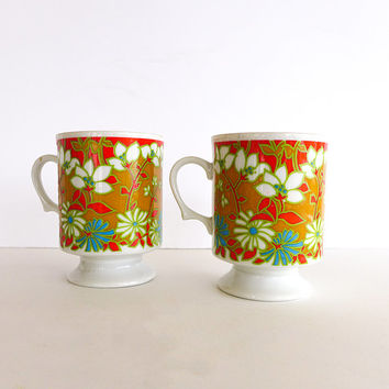 Two Vintage Orange Mugs Retro Kitchen Orange 70s Flowers Jonas Roberts Retro Coffee Mugs with Design 1970s Serving Coffee Mug Set