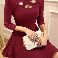 Red 3 Keyhole Dress
