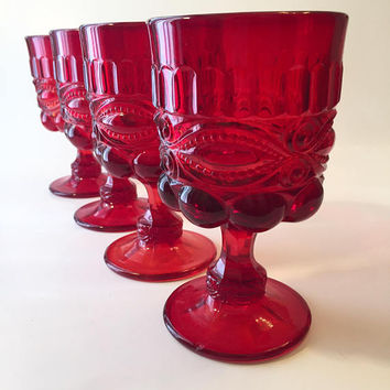 Ruby Glass Goblets, Set of 4 Ruby Eyewinker Wine Glasses, LG Wright Red Goblets