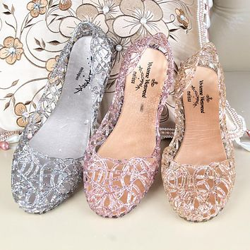 2017 Summer Slippers New Flip Flops Women Sandals Sparkling Crystal Jelly Shoes