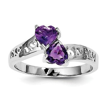 925 Sterling Silver Scroll Amethyst Hearts Ring