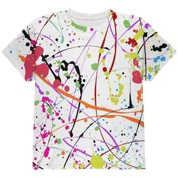 PEAPGQ9 Splatter Paint White All Over Youth T Shirt